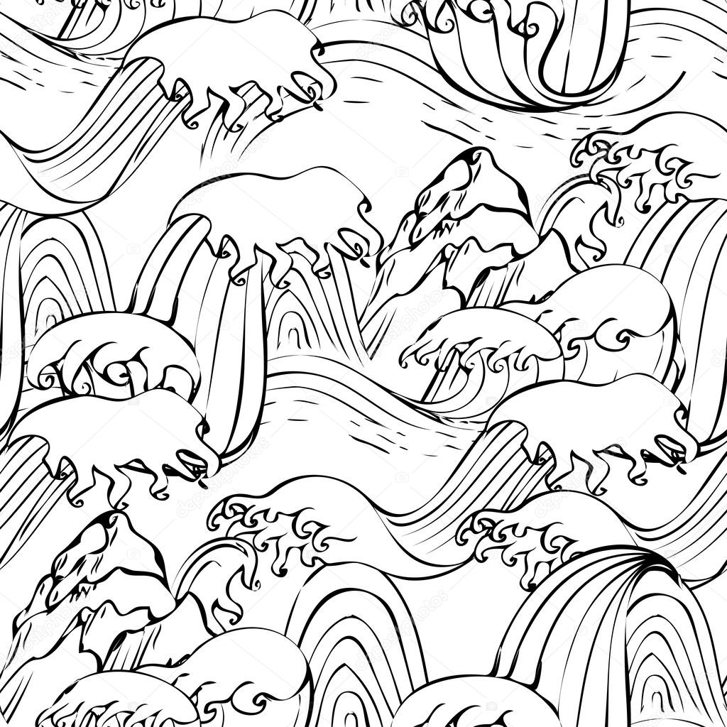 1024x1024 Japanese Seamless Graphic Waves Pattern With Mountain Stock