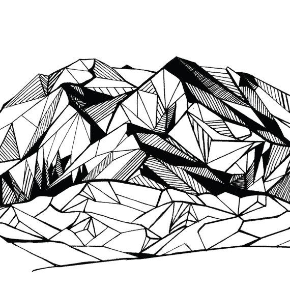 570x570 Denali Alaska Polygonal Mountain Drawing Art Print