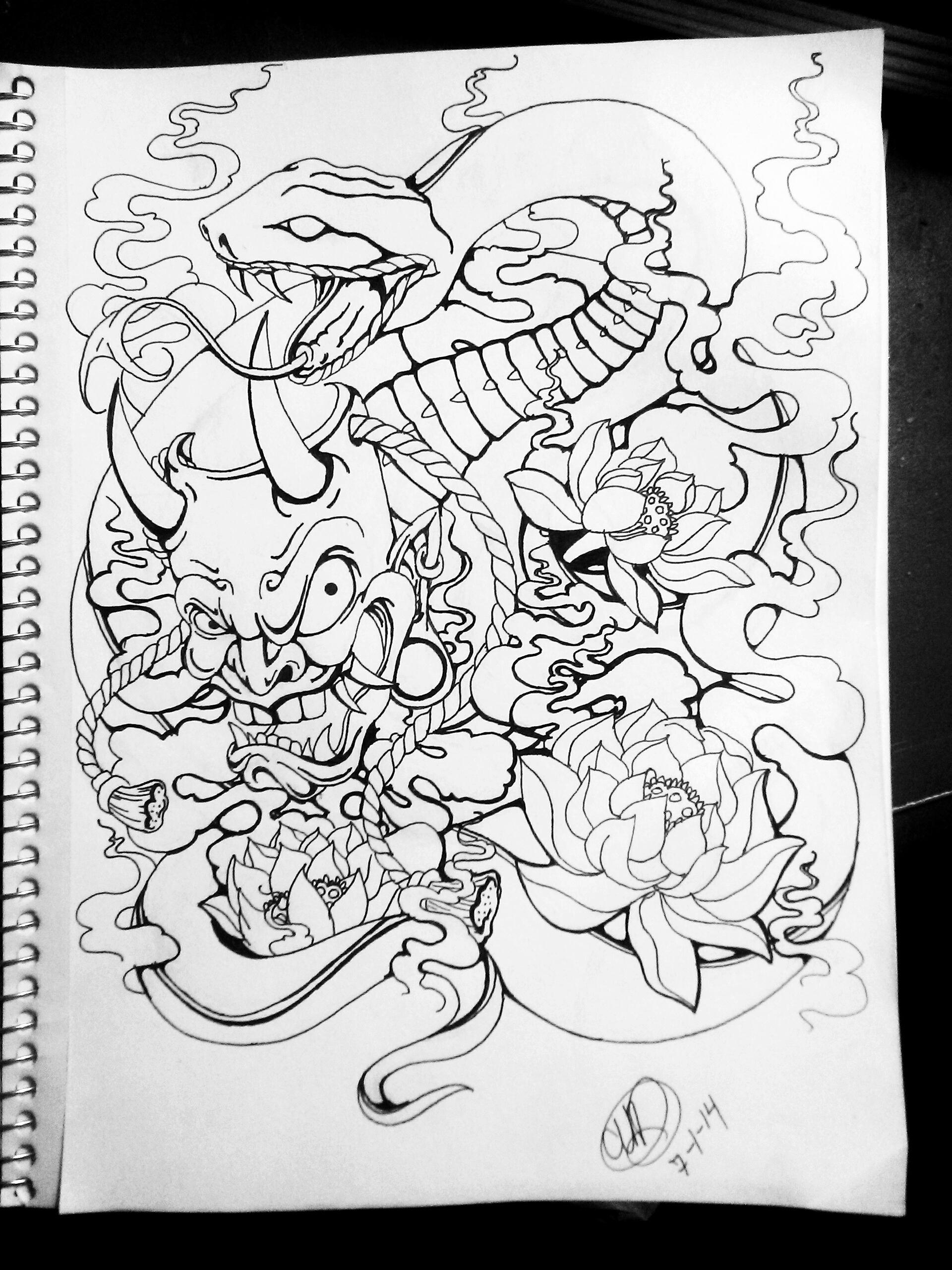 1920x2560 Hannya Snake Tattoo Design By Pin Updoll