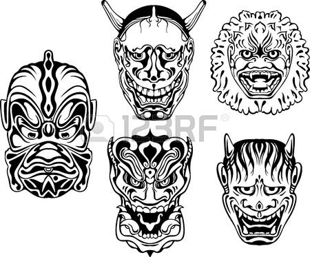 450x373 Japanese Demonic Noh Theatrical Masks. Set Of Black And White