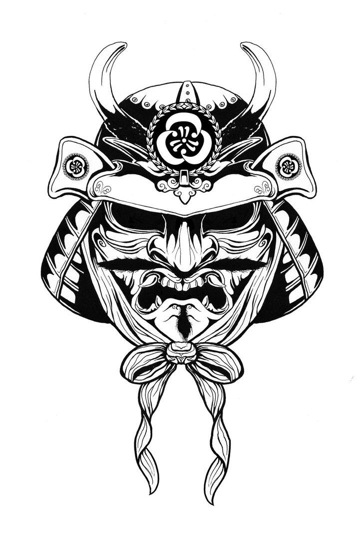 719x1111 Collection Of Tribal Samurai Mask Tattoo Design