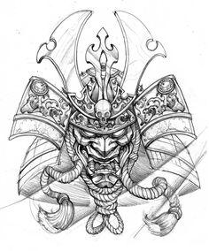 236x284 Dragon And Samurai Mask Tattoo Design