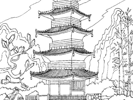 Japanese Pagoda Drawing