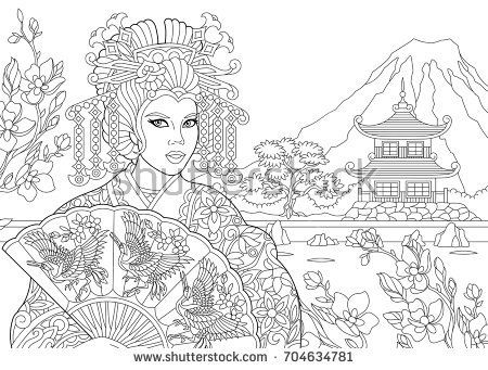 450x341 Coloring Page Of Geisha (Japanese Dancing Actress) With Pagoda