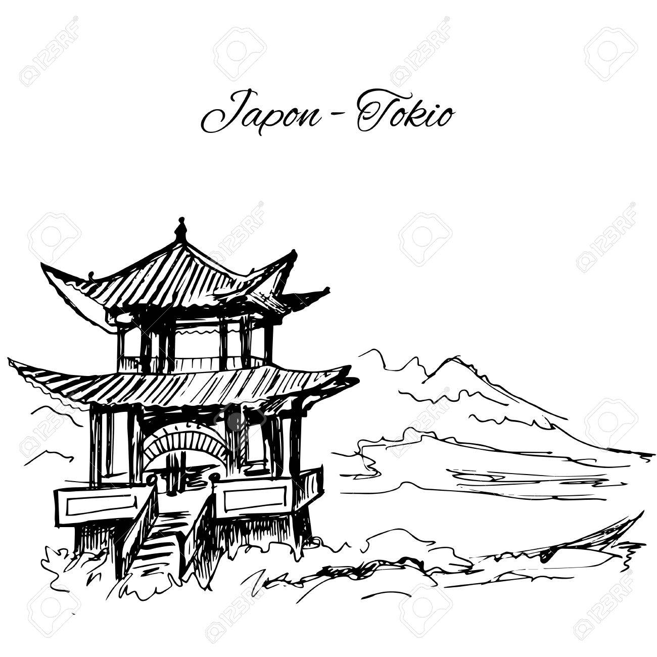 1300x1300 Hand Drawn Japanese Multi Storey Pagoda Scene Royalty Free