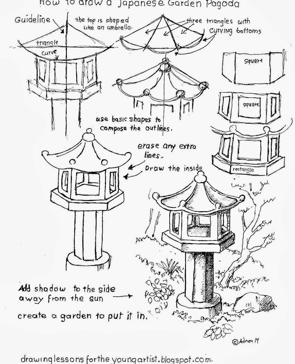1215x1500 How To Draw A Japanese Garden Pagoda Worksheet, Japanese Garden