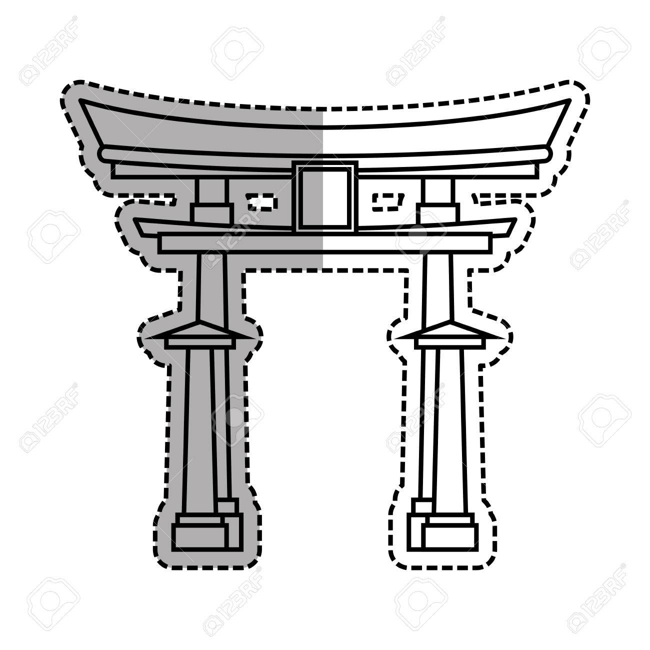 1300x1300 Japanese Pagoda Temple Icon Vector Illustration Graphic Design