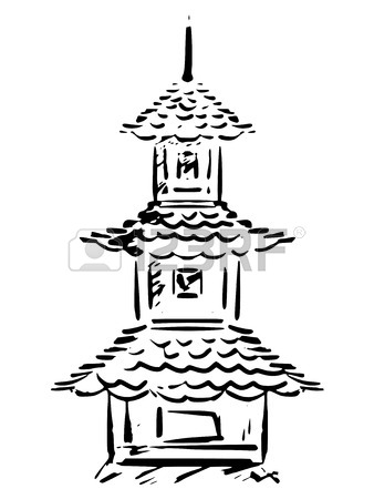 338x450 Sketch, Hand Drawn Illustration Of Pagoda Royalty Free Cliparts