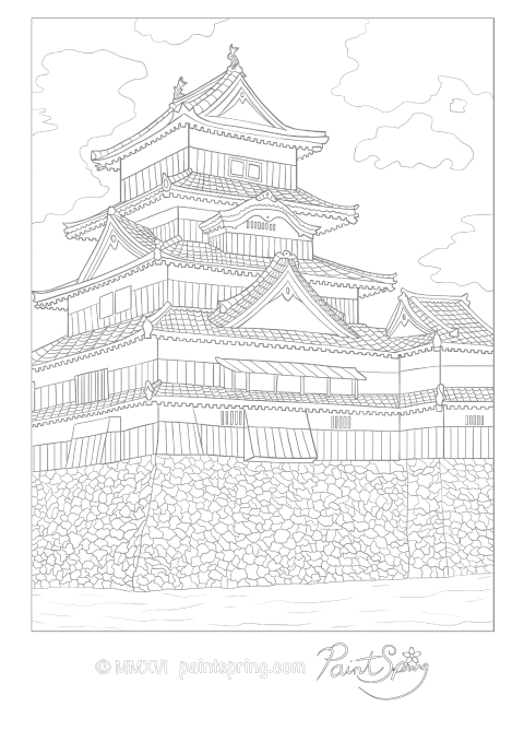 480x679 This Is A Detailed Adult Coloring Page Of A Japanese Castle That