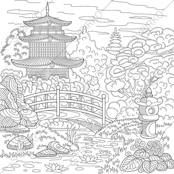 600x600 Chinese Pagoda. Japanese Garden. Coloring Pages. Coloring Book
