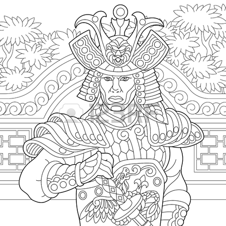 450x450 Coloring Page Of Japanese Samurai With Katana Sword. Freehand