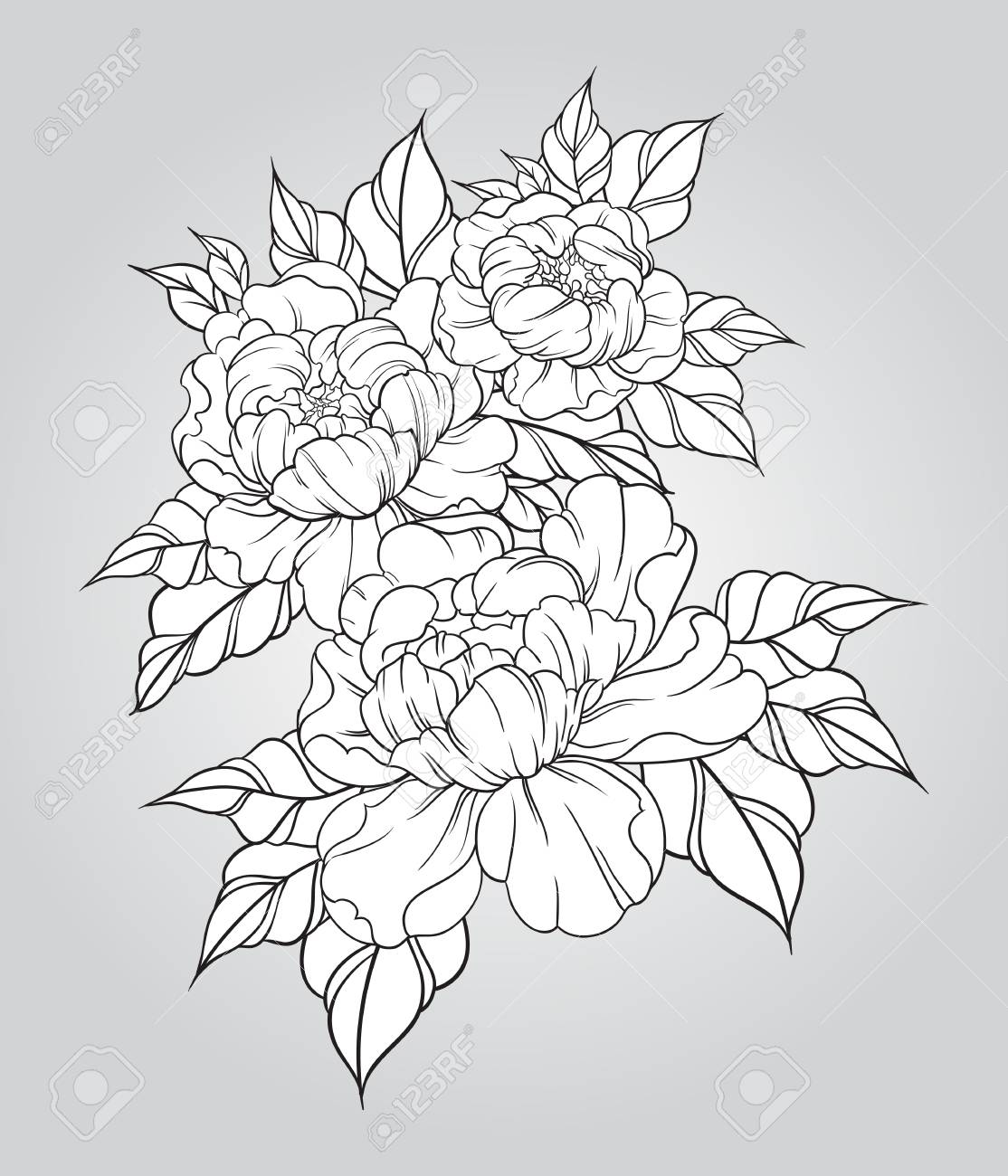 1114x1300 Hand Drawn Peonies In Japanese Tattoo Traditional Style. Floral