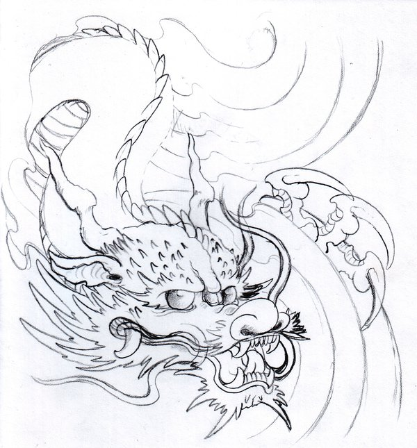 600x645 Dragon Pencil Sketch By Vikingtattoo