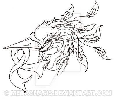 400x342 Asian Phoenix Head With Cancer Ribbon Tattoo By Metacharis