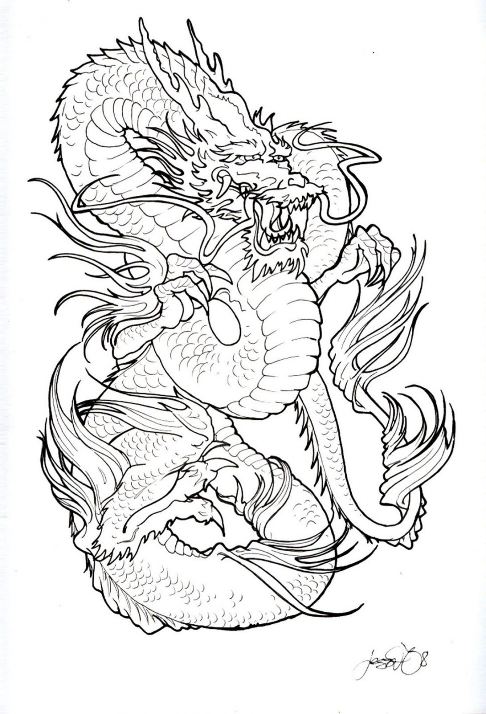 970x1425 Coloring Japanese Tattoo Design Full Back Body Stock Vector