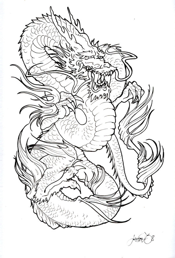 600x882 Dragon And Phoenix Black And White Tattoo On Back