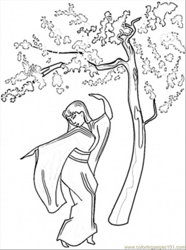 650x875 Dance Under Sakura Wood Coloring Page