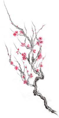 200x400 Drawn Ume Blossom Japanese Building