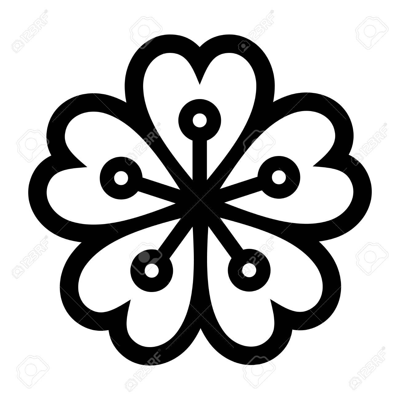 1300x1300 Sakura Blossom Icon Symbol Of Japan Simple Sign Royalty Free
