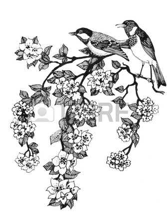 335x450 Set Of Spring Cherry Blossom Flowers. Hand Drawing. Black