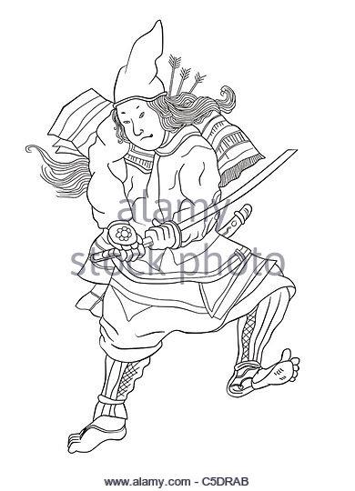390x540 Japanese Samurai Warrior Drawing Sword Stock Photos Amp Japanese
