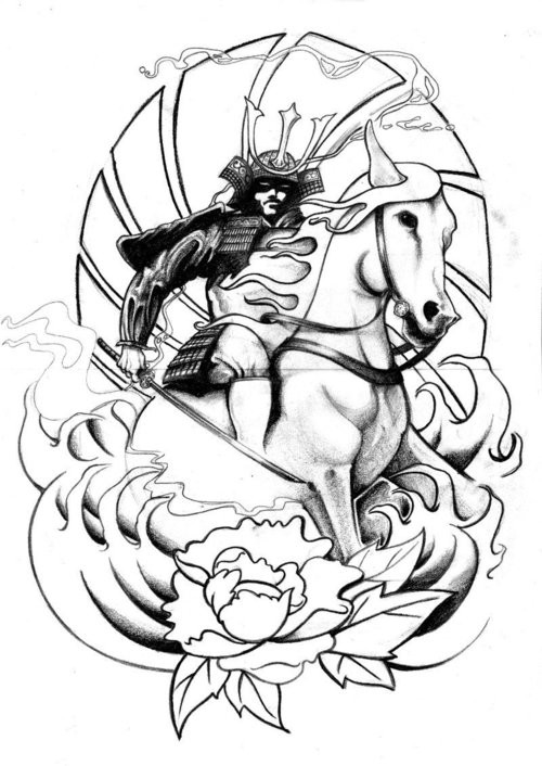 500x706 Japanese Black And White Warrior On Horse Tattoo