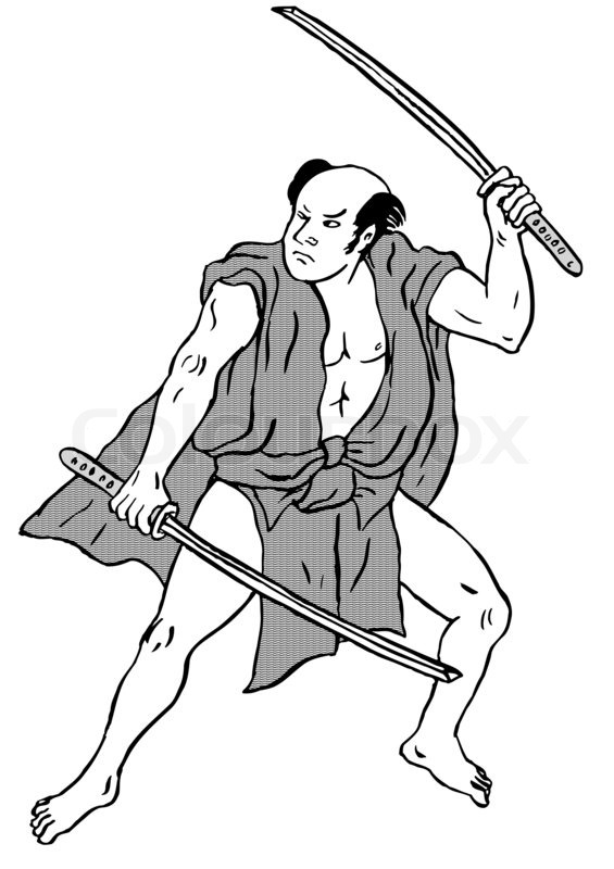 565x800 Japanese Samurai Warrior Fighting Stock Photo Colourbox