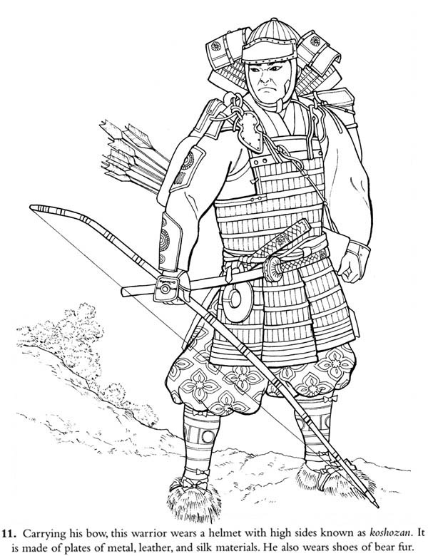600x780 Samurai Warrior Coloring Pages Easy