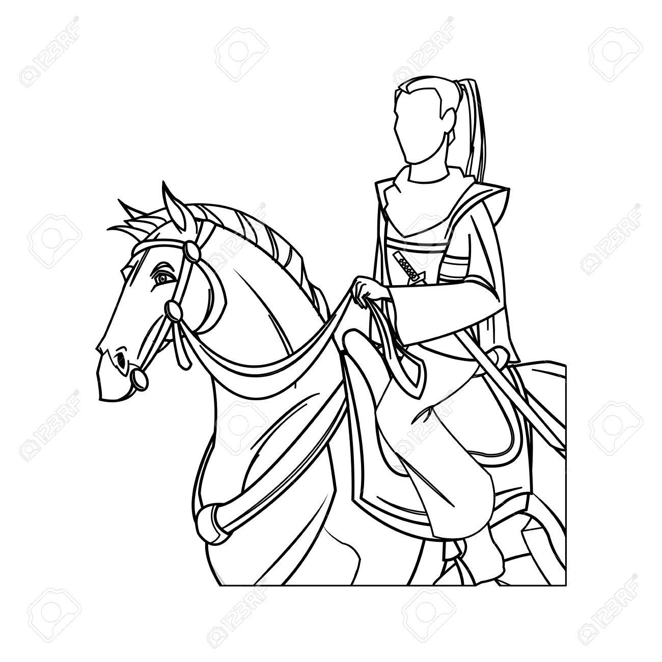 1300x1300 Warrior Samurai Japanese Character Riding Horse Vector
