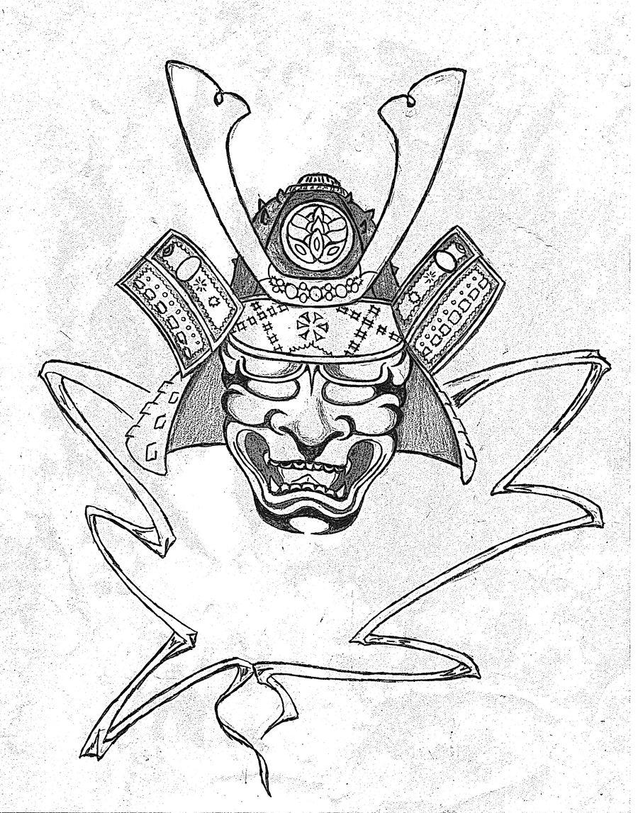900x1147 Collection Of Samurai Helmet Tattoo Drawing