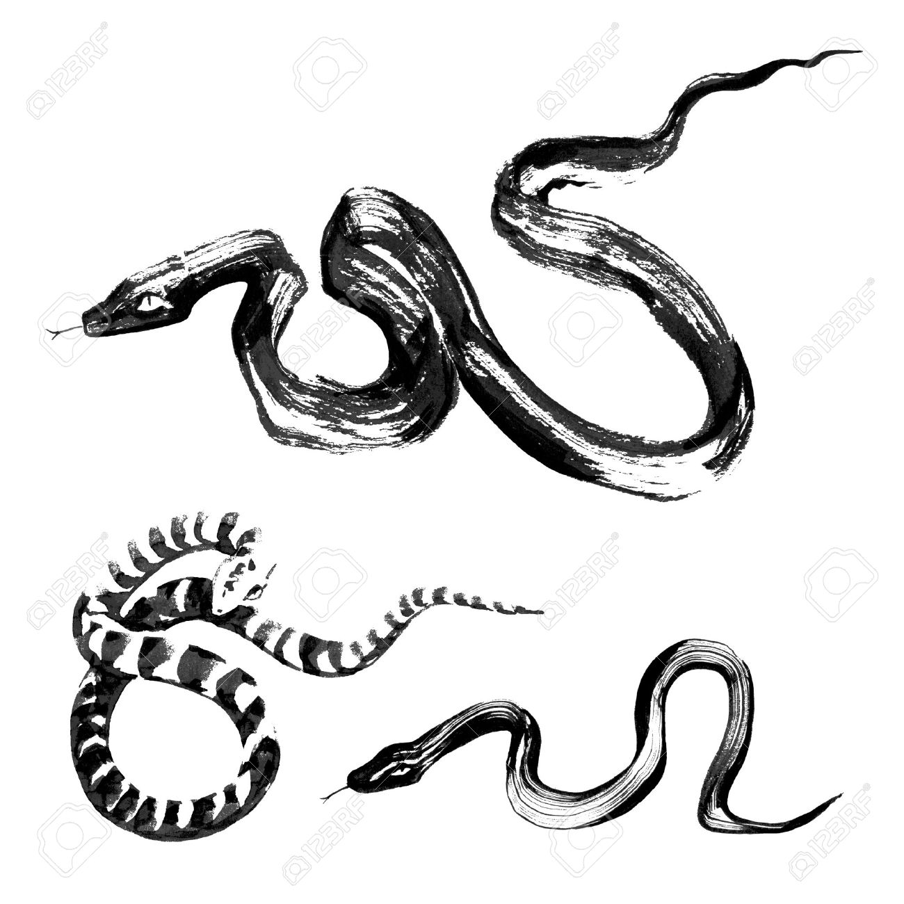 1300x1300 Set Of 3 Snakes In The Style Of Traditional Chinese Ink Painting