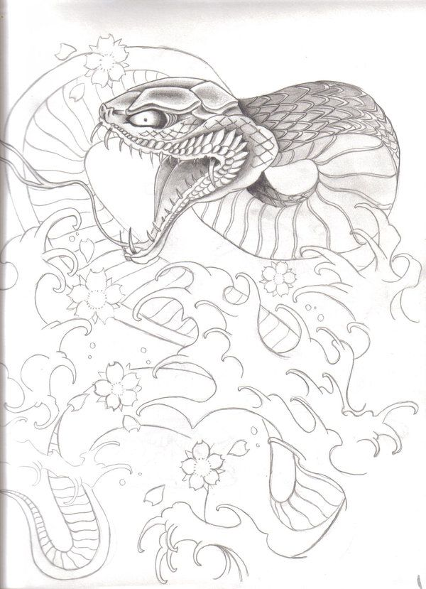 600x829 Traditional Japanese Snake Tattoo Designs Traditional Japanese