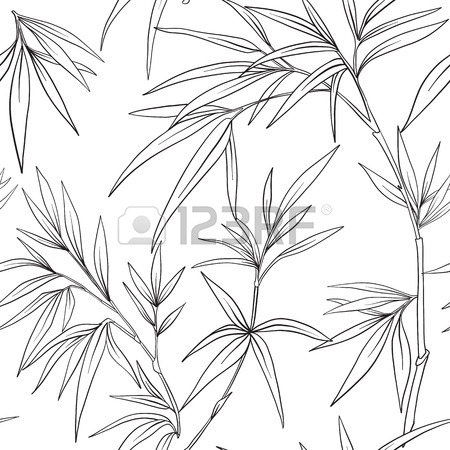 450x450 Seamless Pattern With Bamboo In Japanese Style. Outline Drawing