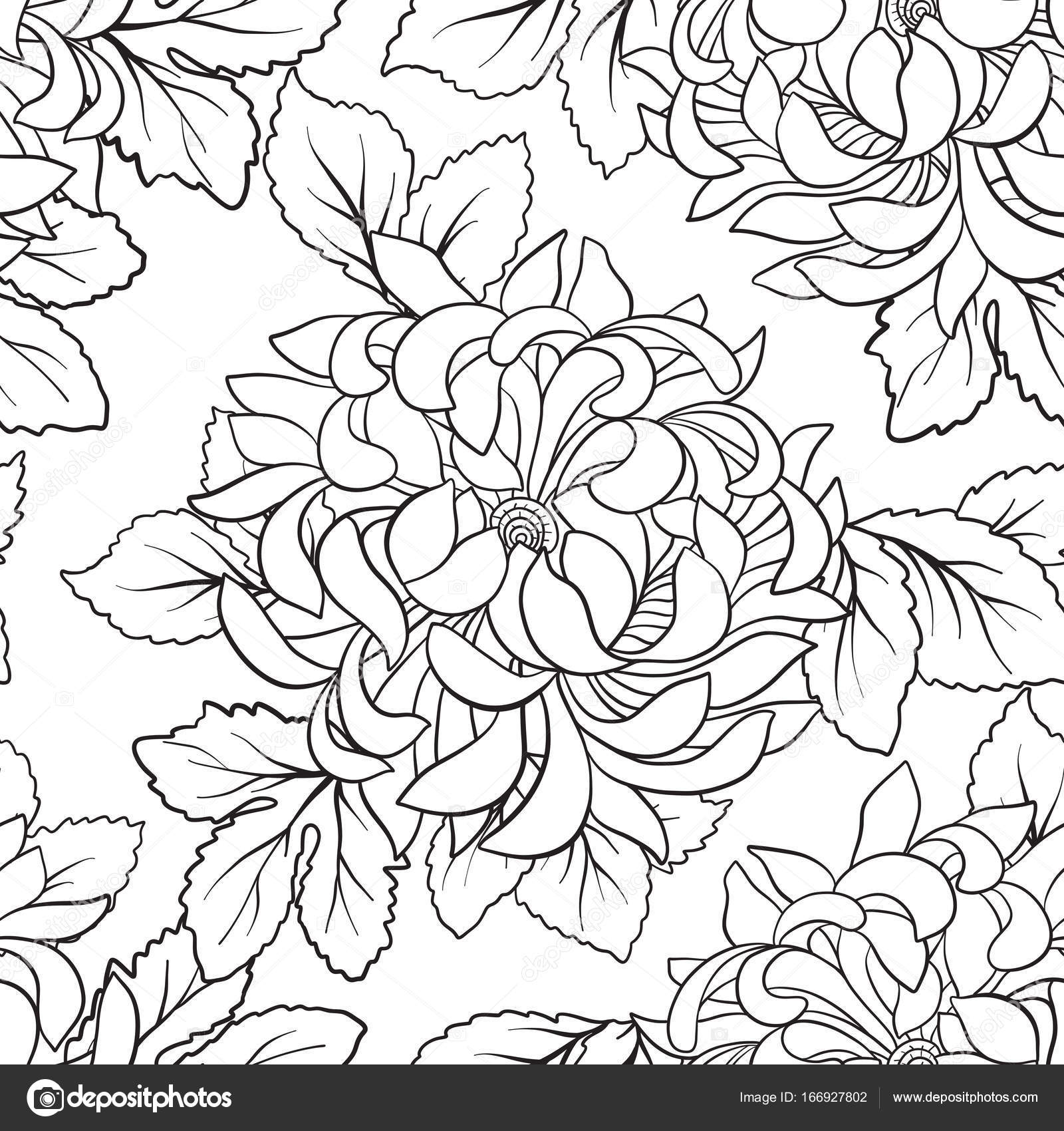 1600x1700 Seamless Pattern With Chrysanthemum In Japanese Style. Outline D