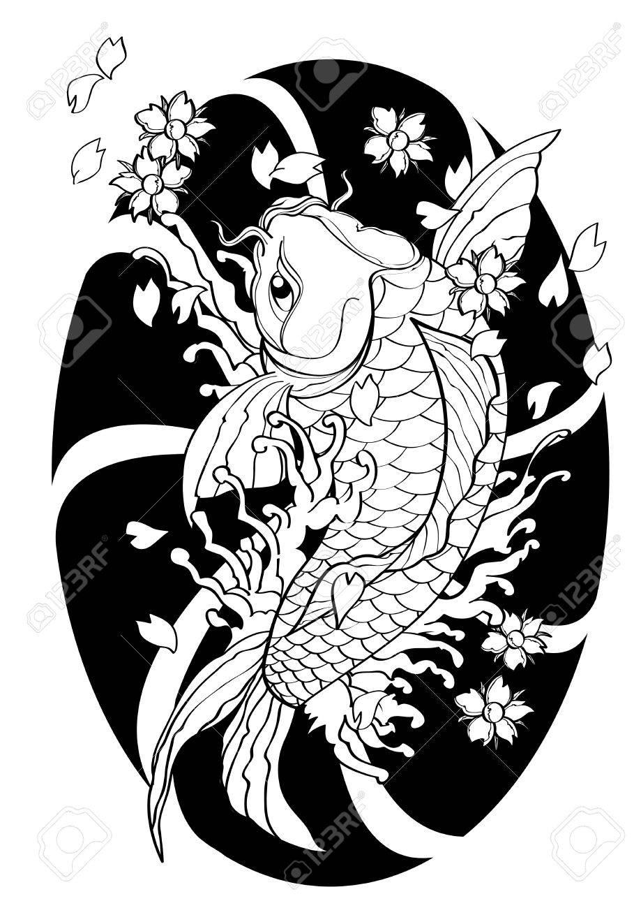 919x1300 Vector Illustration Graphic Background Koi Fish Tattoo Japanese