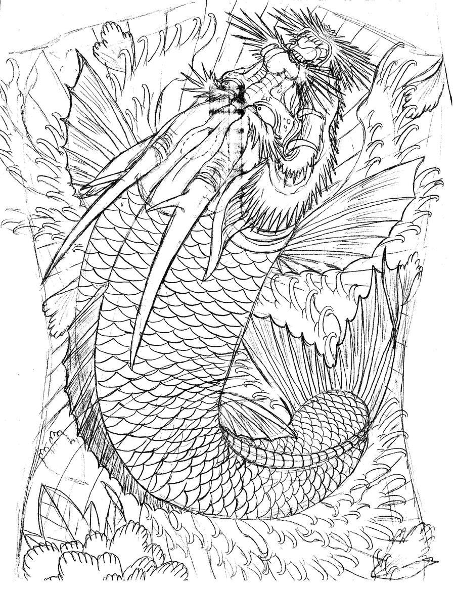900x1165 Japanese Style Back Tattoo Dragon Coi By Tattoomasterzao D Yz