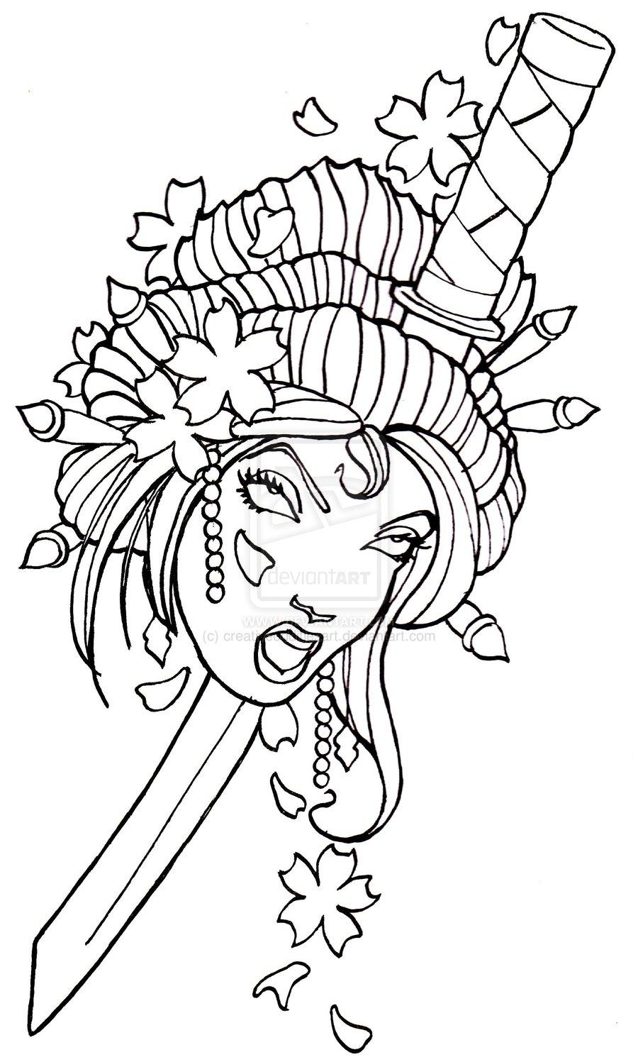 900x1497 Japanese Geisha Tattoo Stencil Tattoo Lt3 Japanese