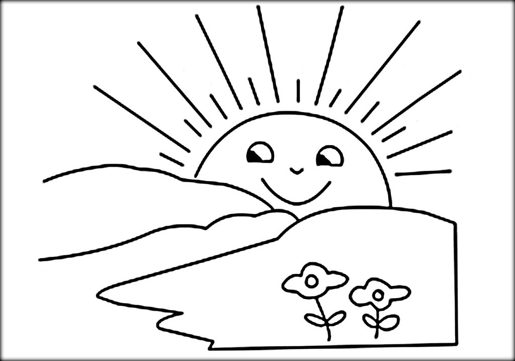 1024x717 Rising Sun Clipart Black And White