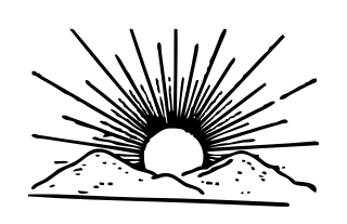 320x207 Rising Sun Clipart Black And White