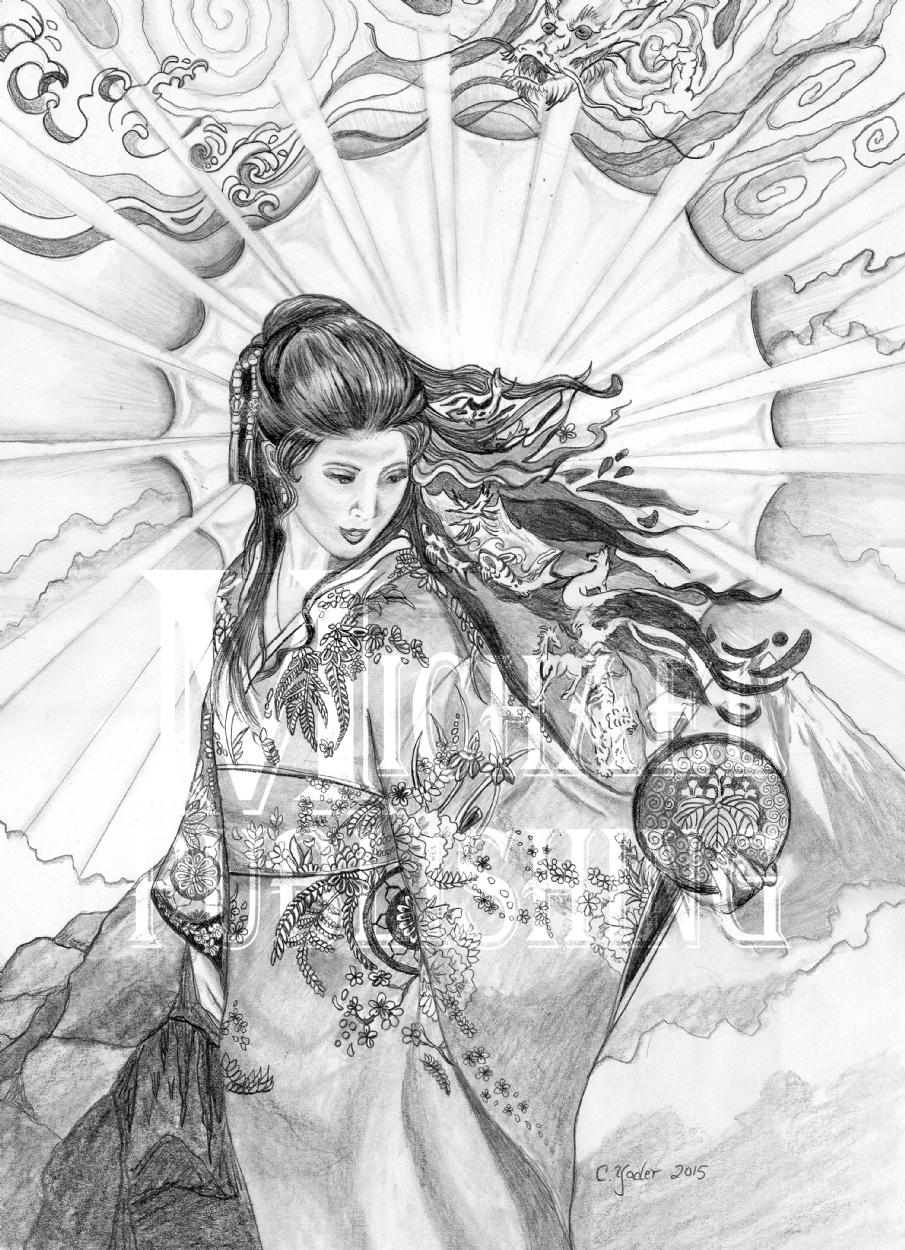 905x1250 Amayerasu Japanese Goddess Of The Sun Preliminary Inks By