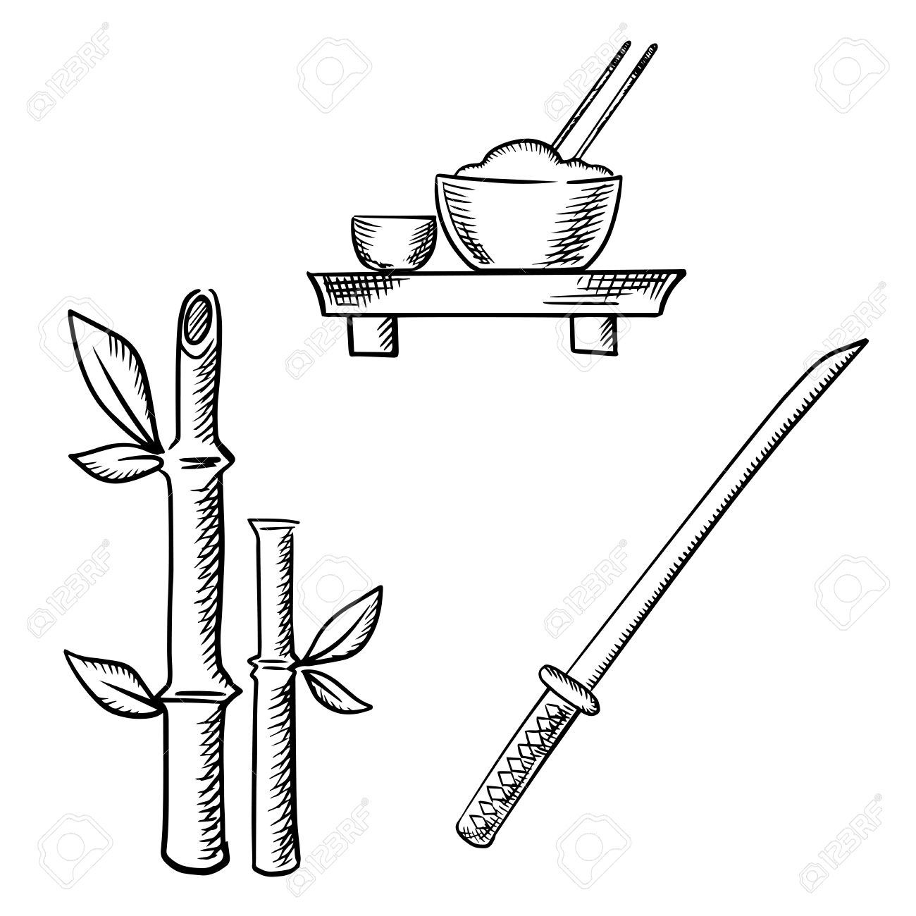 1300x1300 Rice In Bowl With Chopsticks And Sake On Floor Table, Bamboo Stems