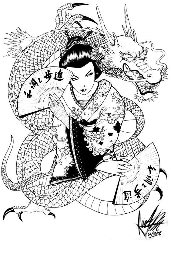 564x848 T T Guisha With Dragon New Tattoo Dragons, Tattoo