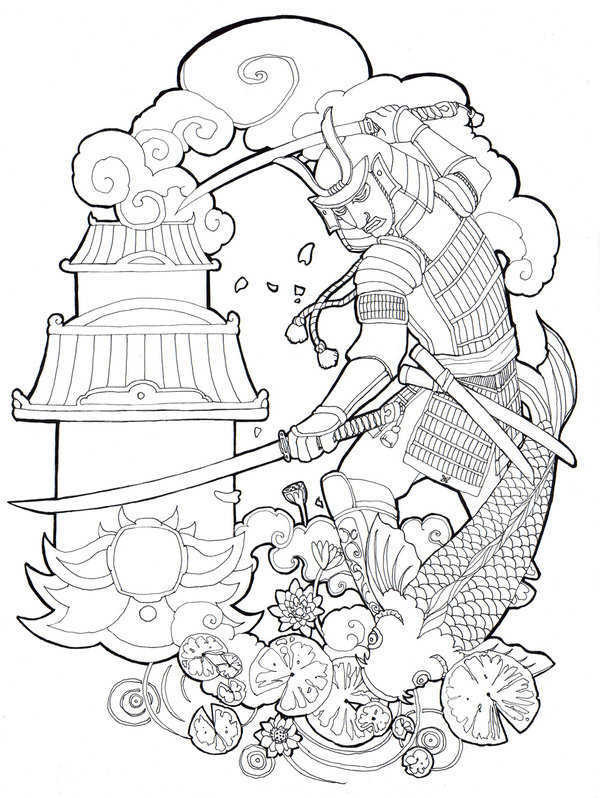 600x798 Japanese Warrior Tattoo Sketch Tattoo Designs