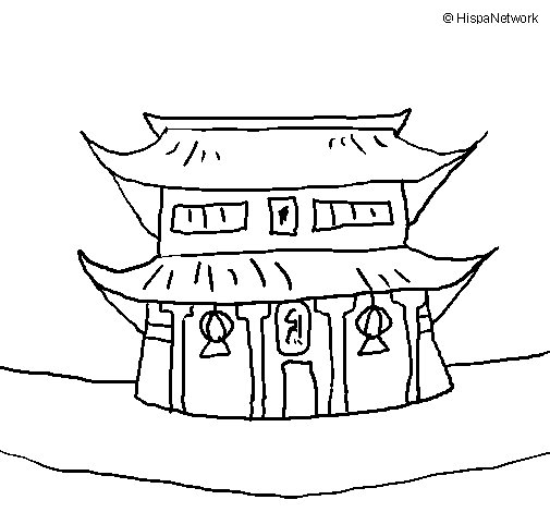 505x470 Japanese Temple Coloring Page