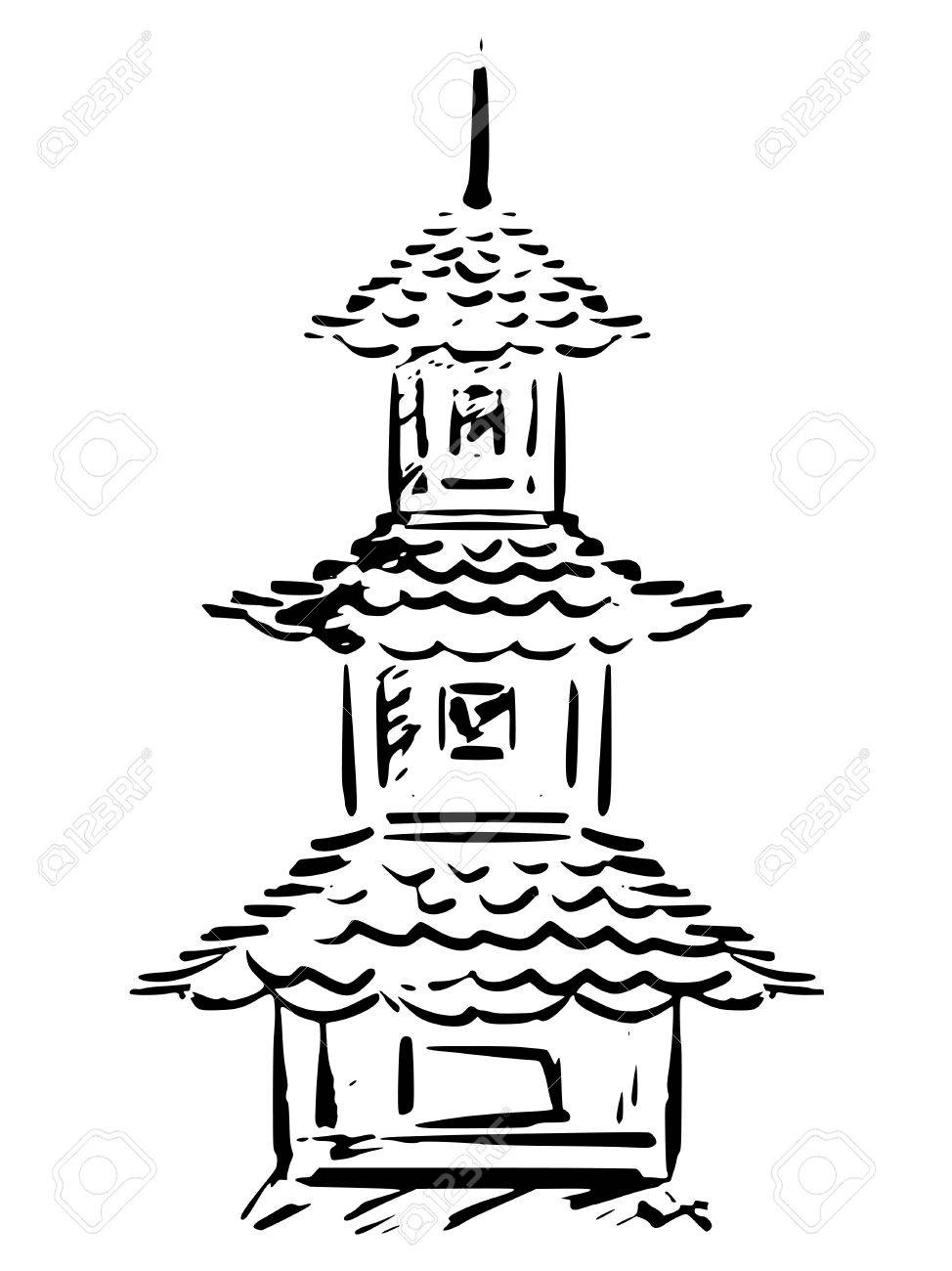 974x1300 Sketch, Hand Drawn Illustration Of Pagoda Royalty Free Cliparts