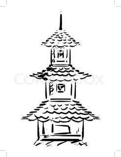 247x320 Traditional Japanese Pagoda Tower With Curved Roof Eaves