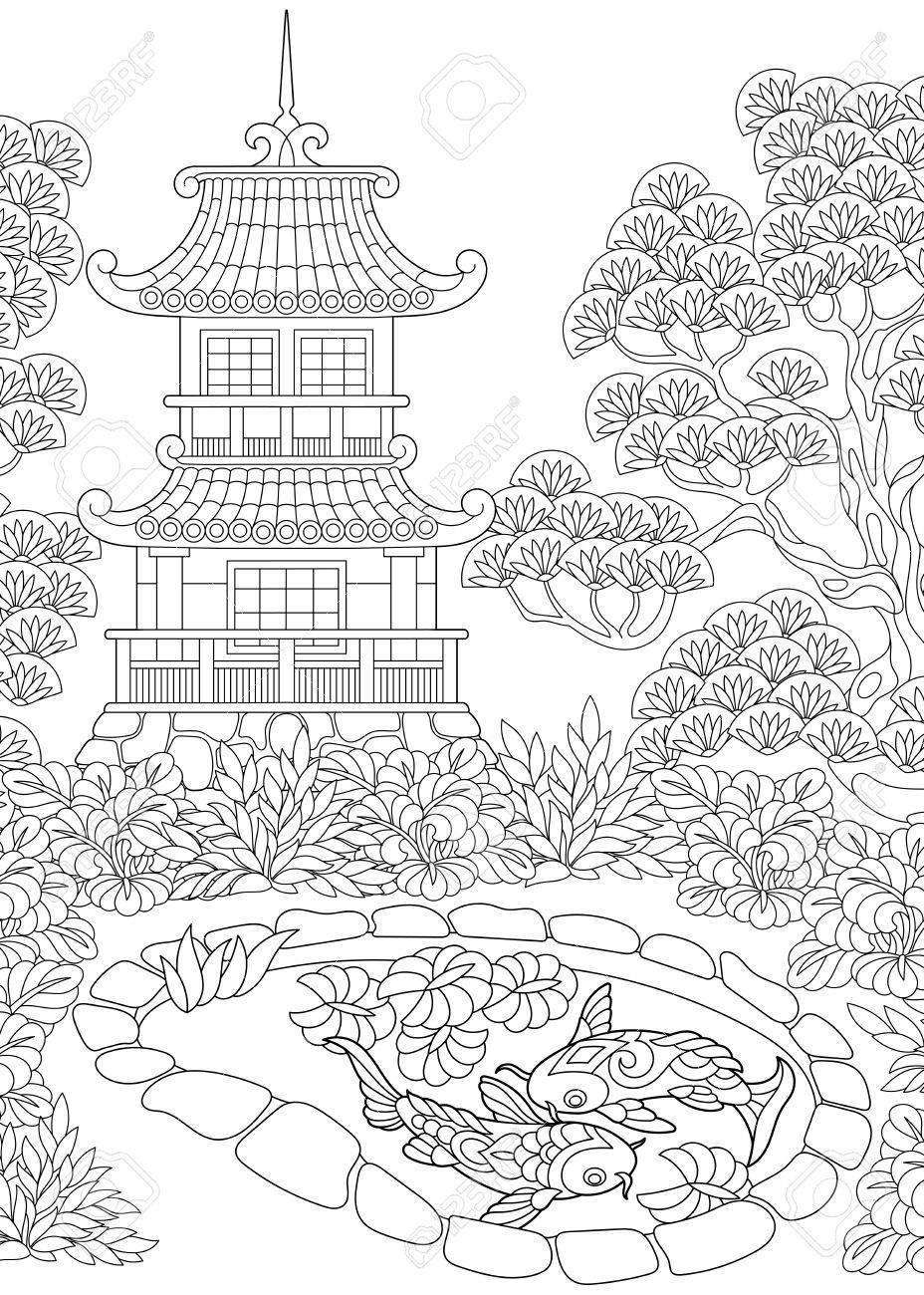 928x1300 Coloring Page Of An Oriental Temple. Royalty Free Cliparts