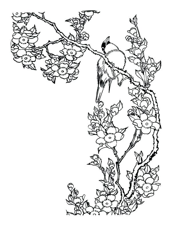 612x792 Japan Coloring Pages Landscape With Lotus And Fish Outline Drawing