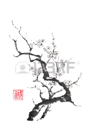 317x450 Japanese Style Sumi E Blooming Plum Tree Ink Painting. Stock Photo