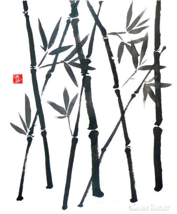 570x690 Original Sumi Brush Painting Bamboo Asian Japanese Wall